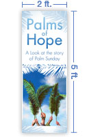 2x5 Vertical Church Banner of Palm Branches