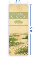 2x5 Vertical Church Banner of Palms