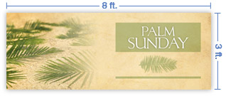 8x3 Horizontal Church Banner of Palms