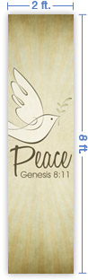 2x8 Vertical Church Banner of Peace