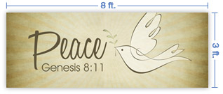 8x3 Horizontal Church Banner of Peace