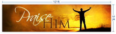 12x3 Horizontal Church Banner of Praise Him - Sunset