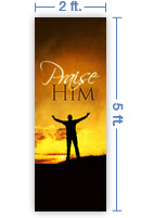 2x5 Vertical Church Banner of Praise Him - Sunset