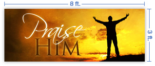 8x3 Horizontal Church Banner of Praise Him - Sunset