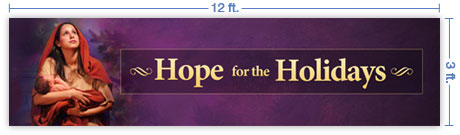 12x3 Horizontal Church Banner of Longed for Christmas