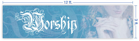 12x3 Horizontal Church Banner of Worship - Quiet Place