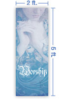 2x5 Vertical Church Banner of Worship - Quiet Place