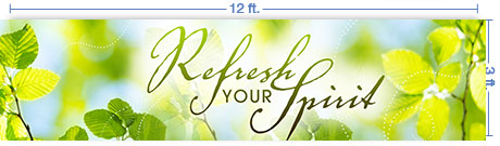 12x3 Horizontal Church Banner of Refresh