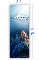 2x5 Vertical Church Banner of Living with Hope