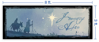 8x3 Horizontal Church Banner of Road To Bethlehem
