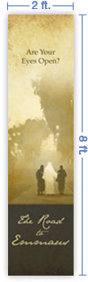 2x8 Vertical Church Banner of Road To Emmaus
