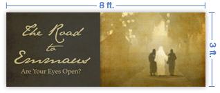 8x3 Horizontal Church Banner of Road To Emmaus