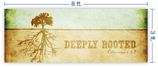8x3 Horizontal Church Banner of Roots
