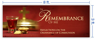 8x3 Horizontal Church Banner of Sacrament