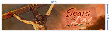 12x3 Horizontal Church Banner of Scars of Love