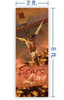2x5 Vertical Church Banner of Scars of Love