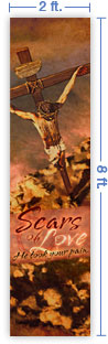 2x8 Vertical Church Banner of Scars of Love