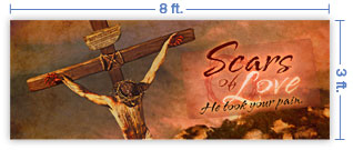 8x3 Horizontal Church Banner of Scars of Love