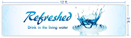 12x3 Horizontal Church Banner of Splash
