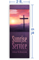 2x5 Vertical Church Banner of Sun Cross