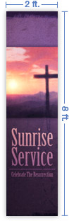 2x8 Vertical Church Banner of Sun Cross