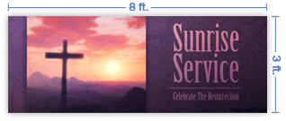 8x3 Horizontal Church Banner of Sun Cross