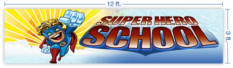 12x3 Horizontal Church Banner of Superhero School