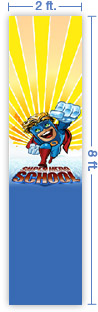 2x8 Vertical Church Banner of Superhero School