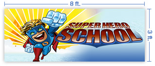 8x3 Horizontal Church Banner of Superhero School