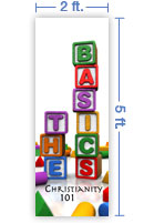 2x5 Vertical Church Banner of The Basics