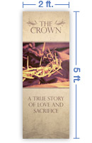2x5 Vertical Church Banner of The Crown