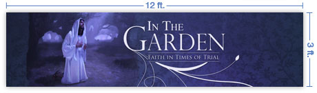 12x3 Horizontal Church Banner of The Garden