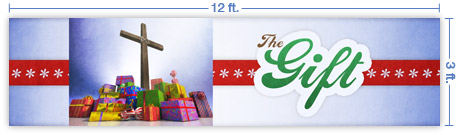 12x3 Horizontal Church Banner of The Gift