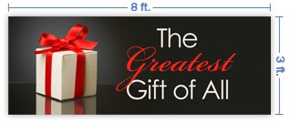 8x3 Horizontal Church Banner of The Greatest Gift of All