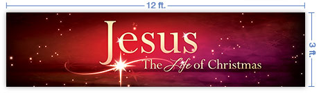 12x3 Horizontal Church Banner of The Life of Christmas