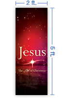 2x5 Vertical Church Banner of The Life of Christmas
