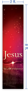 2x8 Vertical Church Banner of The Life of Christmas