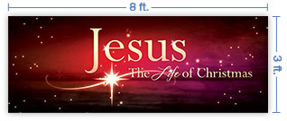 8x3 Horizontal Church Banner of The Life of Christmas