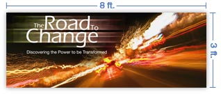 8x3 Horizontal Church Banner of The Road to Change