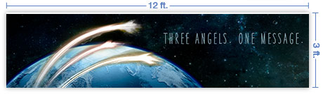 12x3 Horizontal Church Banner of Three Angels Message