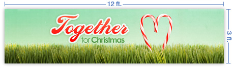 12x3 Horizontal Church Banner of Together For Christmas
