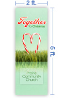 2x5 Vertical Church Banner of Together For Christmas