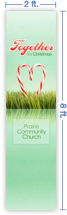 2x8 Vertical Church Banner of Together For Christmas
