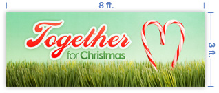 8x3 Horizontal Church Banner of Together For Christmas