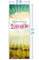 2x5 Vertical Church Banner of True Story of Easter