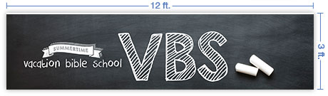 12x3 Horizontal Church Banner of VBS Chalkboard
