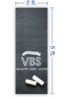 2x5 Vertical Church Banner of VBS Chalkboard