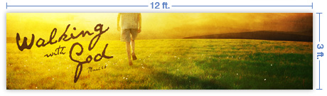 12x3 Horizontal Church Banner of Walking With God