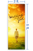 2x5 Vertical Church Banner of Walking With God