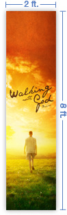 2x8 Vertical Church Banner of Walking With God